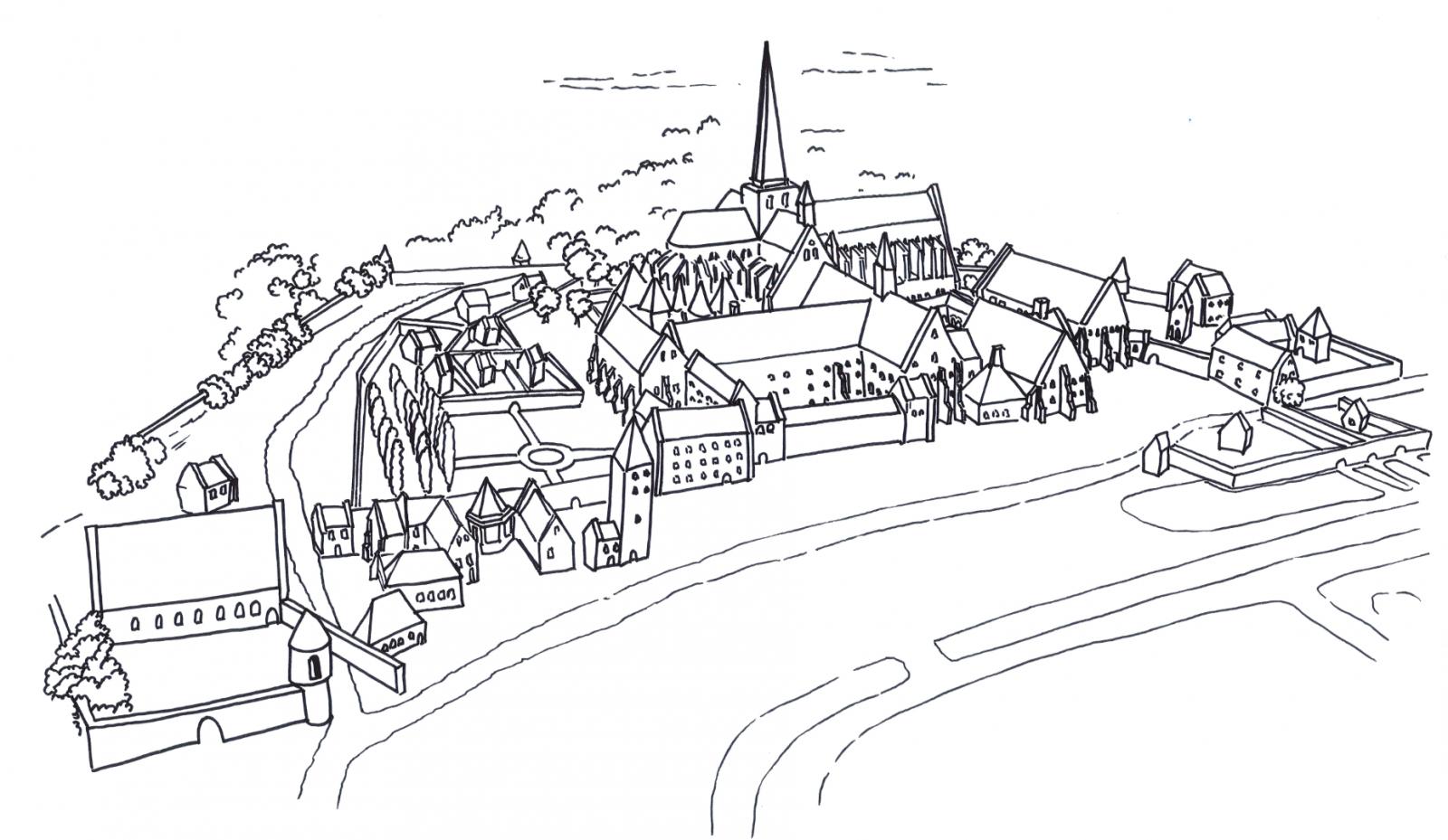 Dessin de l'abbaye au XVe siècle